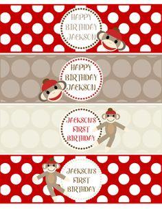 Sock Monkey Birthday Party Water Bottle Labels  -  DIY PRINTABLE PDF