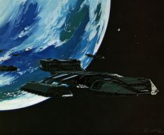 Original Battlestar Concept Paintings for Cylons, Ships, and Bug People