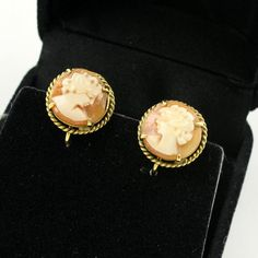 Vintage English 9k 9ct Gold Shell Cameo Earrings with door mybooms, $98.00