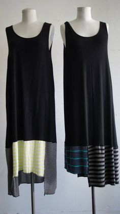 Easy refashion, take a long shirt & add different color fabric for the bottom