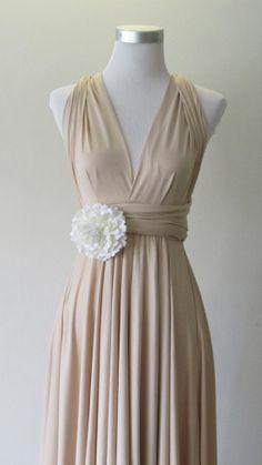 Summer day dress Convertible Dress in Champagne Infinity Dress Multiway Dress Cream eggshell white light Wrap dress