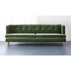 velvet green sofa bohemain style avec sofa with brass legs | CB2