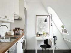 You've got a small kitchen, we've got 35 of the best ideas to make it better. Use these decorating ideas and design inspiration to make the most of your tiny kitchen. Design Apartment, Attic Apartment, Attic Rooms, Apartment Therapy, Attic Playroom, Studio Apartment, Attic Library, Apartment Interior, Design Room
