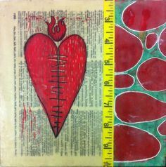 """Heart healed"" - 8x8"". Woodblock and encaustic collage on wood panel. Amy Stoner, 2013."