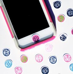IPhone Monogrammed Initials Home Button by Miss54Couture on Etsy