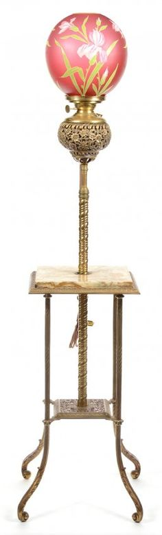 """52"""" BRASS AND MARBLE ORGAN LAMP : Lot 314"""