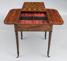 English Antique Regency Games Table  Laura & Bell play backgammon