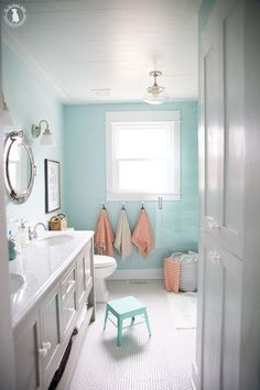 Getting ready for bed will become your kids' new favorite routine thanks to these amazing kids bathroom ideas. #kidsbathrooms #bathroomdecor #BathroomHooks Girl Bathrooms, Baby Bathroom, Kid Bathroom Decor, Bathroom Renos, Small Bathroom, Design Bathroom, Colors For Bathrooms, Bathroom For Kids, Bathroom Theme Ideas