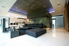déco de salon avec plafond en béton