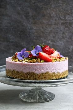 Pistachio and Strawberry Raw Cake Recipe. Grain-free and vegan strawberry raw cake with pistachio and coconut crust that is perfect for summer celebrations.