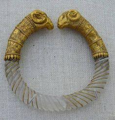 Ram's head rock-crystal bracelet styled like a torque (ca. 330-300 B.C.). Found in Macedonia, near Thessaloniki, GREECE