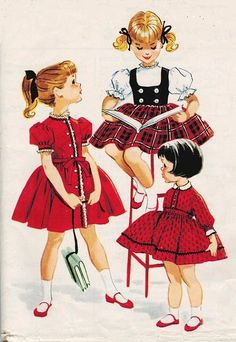 "1950s UNCUT Girls DRESS and Vest ""Helen Lee Inspired"" Sewing Pattern Size 4"
