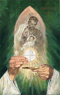 Holy Family and the Eucharist Catholic Art, Catholic Saints, Religious Art, Roman Catholic, Christian Artwork, Christian Pictures, Jesus Pictures, Blessed Virgin Mary, Holy Family