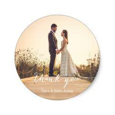Modern Wedding Thank You Photo Sticker