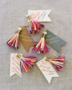 A Globally-Inspired Eclectic Vermont Wedding Paper tassels created by Parcel, a vendor whose goods are sold in Fiona's store, hung from each calligraphed escort card. Photography by Liz Banfield Diy And Crafts, Paper Crafts, Diy Paper, Eclectic Wedding, Ideias Diy, Gift Packaging, Creative Gifts, Paper Goods, Diy Gifts