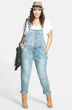 Sejour Jersey V-Neck Tee & City Chic Button Front Distressed Overalls (Plus Size… Sejour Jersey V-Neck Tee & City Chic Button Front Distressed Overalls (Plus Size) available at Plus Size Fashion For Women Summer, Summer Outfits Women, Women's Summer Fashion, Overalls Plus Size, Plus Size Jeans, Look Plus Size, Plus Size Casual, Stylish Plus Size Clothing, Plus Size Outfits