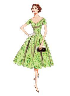 V2903   Misses'/Misses' Petite V-Neck Fit and Flare Dresses   Vogue Patterns