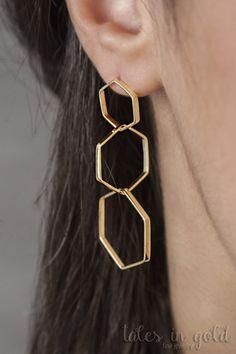 Gold Earrings, Dangle Earrings, 14 karat gold Earrings, Elegant Earrings, Exagon Earrings, Long Earrings, Geometric Earrings, Triple Exagon