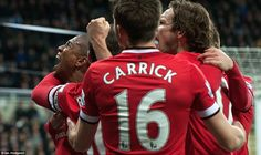Wayne Rooney, Michael Carrick and Danny Blind are among the United players to celebrate with Young