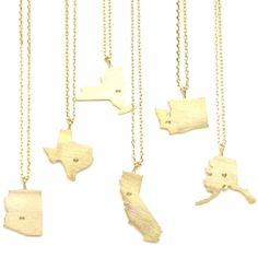 Show your home state pride with our gold state charm necklaces   State shaped necklaces from Tangerine Jewelry Shop