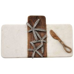 Mud Pie, Mudpie, Starfish Marble & Wood Board Set