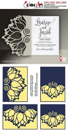 3 Lotus Lace Card Templates Digital Cut SVG DXF Files Wedding