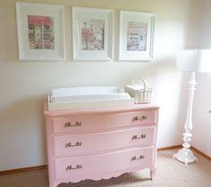Vintage dresser gets a pink painted overhaul for a girls nursery.