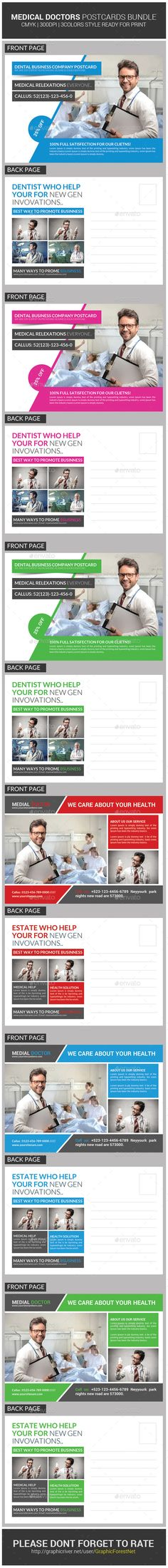 Medical Doctors Postcards Bundle — Photoshop PSD #ad #creative • Available here → https://graphicriver.net/item/medical-doctors-postcards-bundle/9319178?ref=pxcr