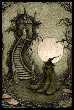 inspiration- Green wool cape with vintage look. patches and large hand stitches. fairytale witch cottage.