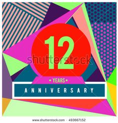 12th years greeting card anniversary with colorful number and frame. logo and icon with Memphis style cover and design template. Pop art style design poster and publication.