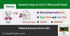 Various ways to Cut data or content MS Excel 2016 - http://indiaexcel.com/various-ways-cut-data-content-ms-excel/