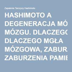HASHIMOTO A DEGENERACJA MÓZGU. DLACZEGO MGŁA MÓZGOWA, ZABURZENIA PAMIĘCI, DEPRESJA I ZMĘCZENIE SĄ OBJAWAMI W HASHIMOTO? - Zapalenie Tarczycy Hashimoto Polish Language, Kids And Parenting, Homeschool, Health Fitness, Teaching, Education, Popular, Crafts, Beauty