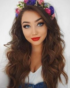 YAASS Girl ! @ohmygeeee is the definition of #HAIRSPIRATION  !! She is bright and beautiful in a romantic flower crown and long brunette curls. Get this hot look with our 25mm Magic Wand! #NuMeStyle #hairoftheday #loosecurls