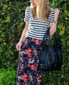 Stripes & Floral. Spring outfit idea.