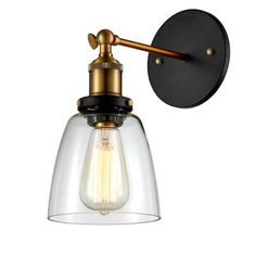 Edison Simple Glass Wall Mount Sconce - Bulb Included, Clear/Antique B   Ohr Lighting