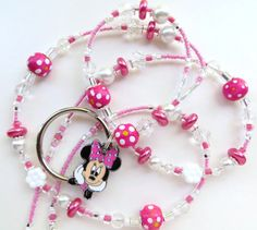 PINK MINNIE Beaded ID Lanyard Sparkling by CJsInspirations on Etsy