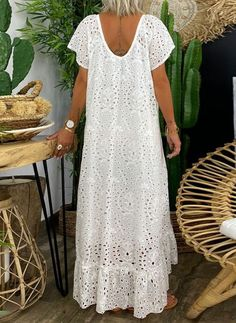 Casual Solid Tunic V-Neckline A-line Dress - Floryday Casual Dresses, Summer Dresses, Maxi Dresses, Dress Outfits, Latest African Fashion Dresses, Floral Maxi Dress, The Dress, Boho Fashion, Beautiful Dresses