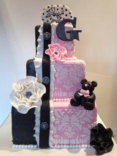 Pink Damask Baby Shower Cake