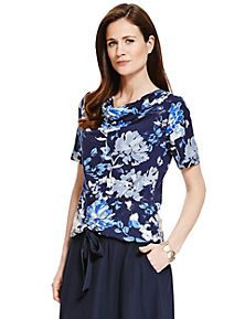 Blue Mix Peony Floral Top