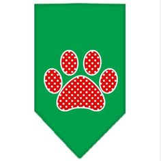 Mirage Pet Products Red Swiss Dot Paw Screen Print Bandana for Pets, Large, Emerald Green *** Additional details at the pin image, click it  : Dog Bandanas