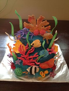 Coral Reef cake--love the vivid color palette. different in a startlingly good way. -From CakeCentral.com