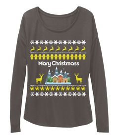 Mary Christmas Dark Grey Heather Long Sleeve T-Shirt Front
