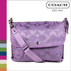 Coach Signature Kyra Nylon Flap Laptop Messenger Bag 16553 Lilac Purple, http://www.amazon.com/dp/B007WHZF68/ref=cm_sw_r_pi_awdm_eBsOtb01AJ3SR