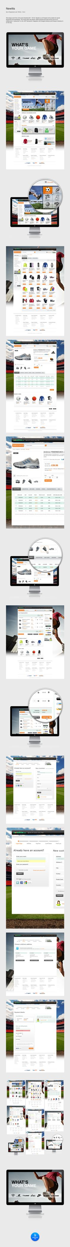 "Newitts by Yan Duffield, via Behance *** Site design and IA for online store Newitts (2011- 2012). Newitts is a UK based online retailer for sports equipment and sportswear. The online store has approx. 6000 products and was built by one of our collaborator´s ""subcontrol"" on the .NET framework, integration with Google checkout and Amazon checkout is on the way..."