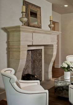 Limestone Fireplaces, Stone Mantles in Texas Limestone, Fireplace surrounds and Hearth Kits. Fireplace Trim, Fireplace Mantel Surrounds, Wooden Fireplace, Concrete Fireplace, Farmhouse Fireplace, Fireplace Remodel, Fireplace Mantle, Fireplace Design, Linear Fireplace
