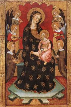 Madonna with angels playing music, Pere Serra (c. 1357-1409), italian