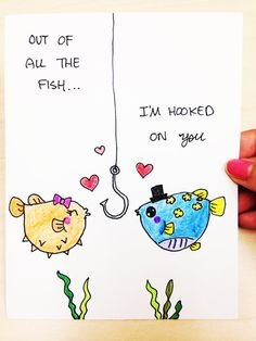 Valentines Day Card, Out of all the fish, Im hooked on you, hand drawn just for your husband, boyfriend, wife or girlfriend. Its great for