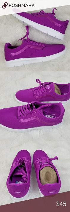 Vans Iso 1.5 Mesh Neon Purple Shoes Brand new in box. Vans Iso 1.5 Mesh Neon Purple Lightweight Shoes. Women's Size 9.5 & 10. Men's Size 8 & 8.5. Box may have some damage. Vans Shoes Sneakers