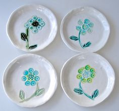 Small plate set Dessert Plates appetizer dishes by Clayshapes