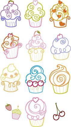 CupCake cup cake Applique Machine Embroidery